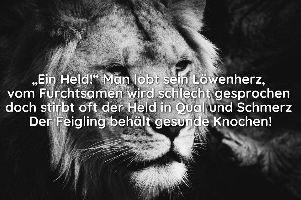 Bild mit Spruch feige Löwe