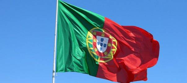 portugiesische Flagge im Wind