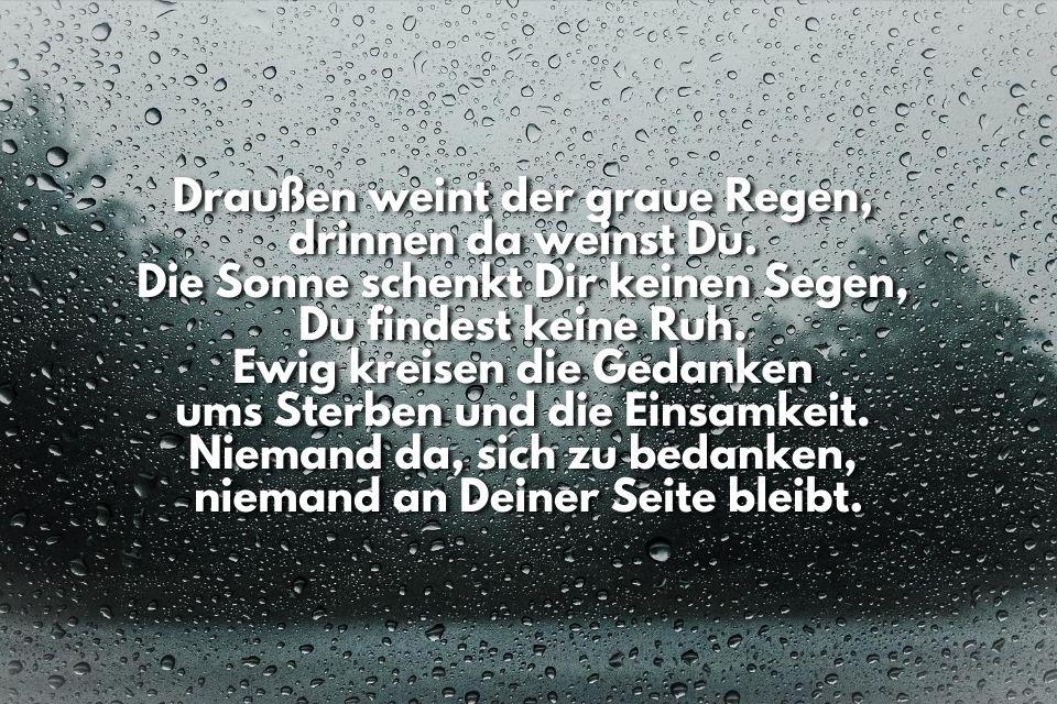Bild mit Text traurig Regen Trauer