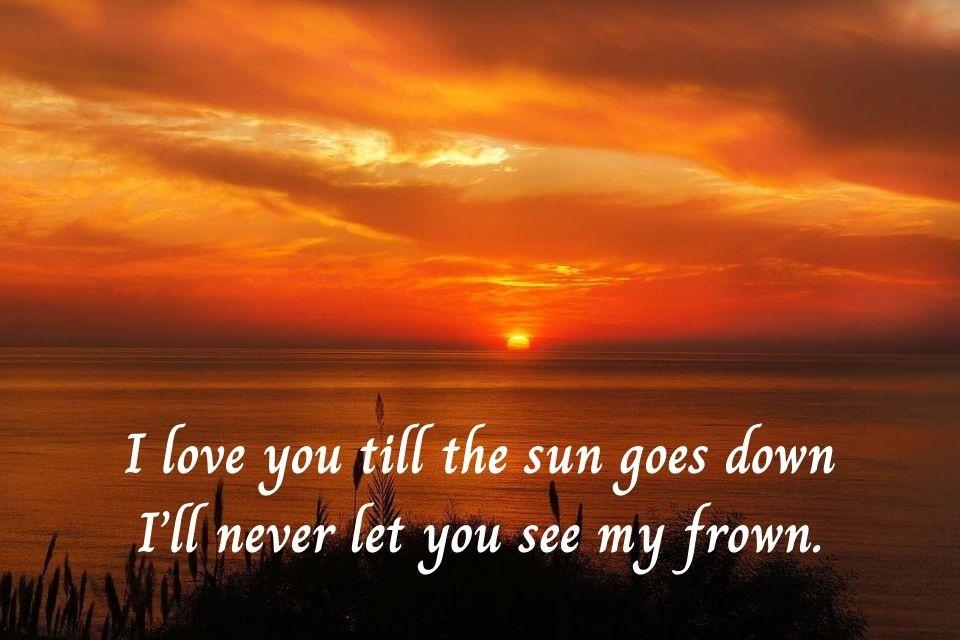 Sonnenuntergang mit einem englischen Spruch zum Nachdenken