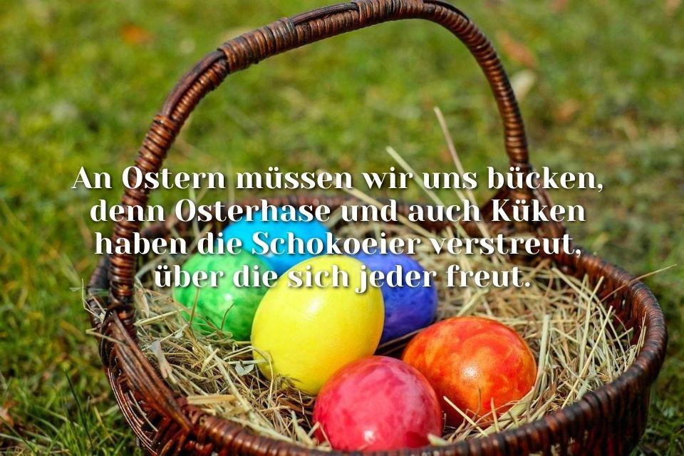 Bild frecher Osterspruch Eierkorb