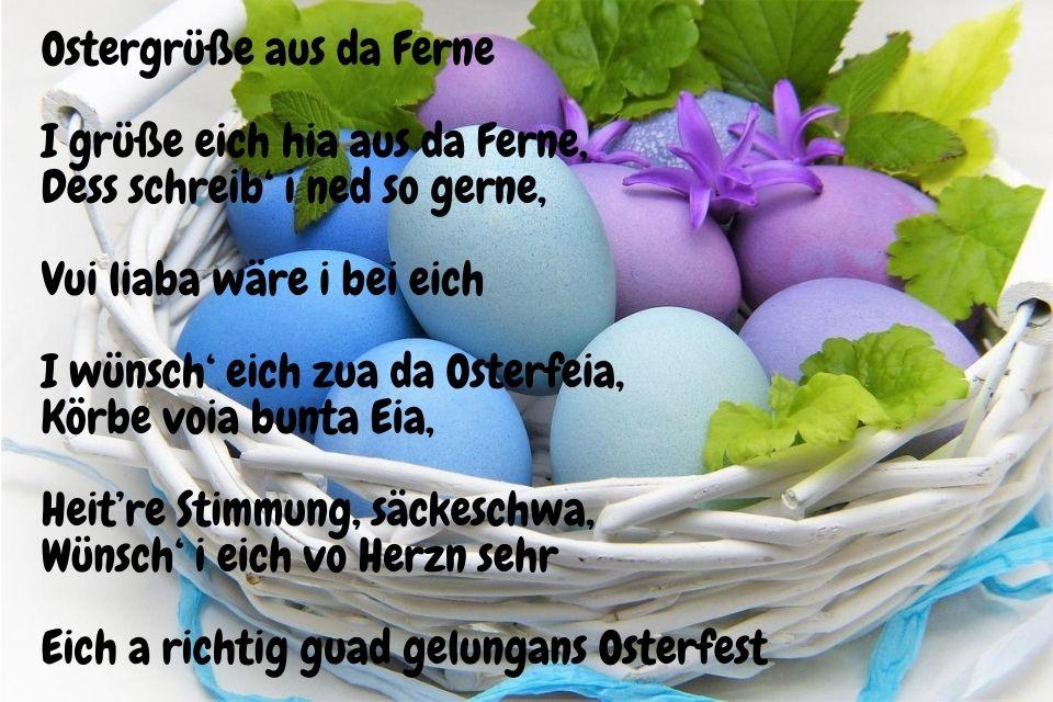 Ostersprüche auf Bayrisch mit Ostereiern