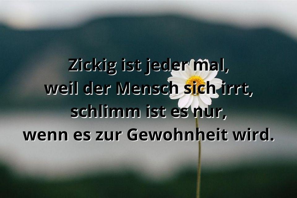 Zicken Spruch mit einem Blume im Hintergrund